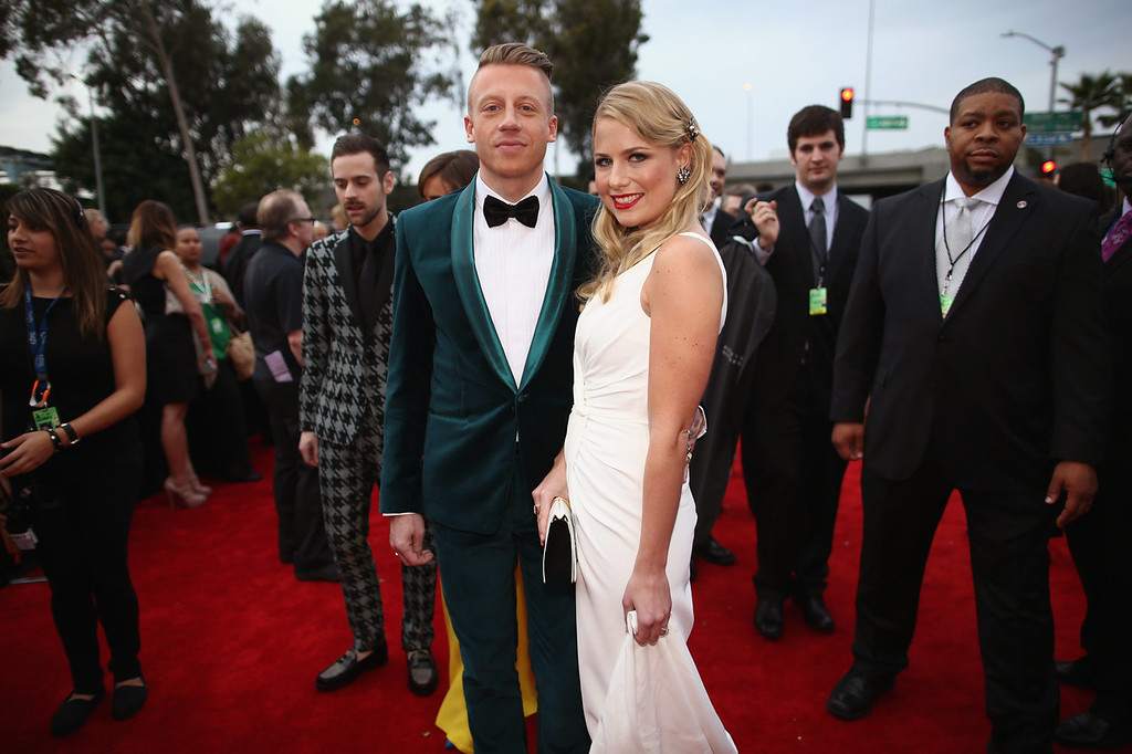 . Recording artist Macklemore (L) and Tricia Davis attend the 56th GRAMMY Awards at Staples Center on January 26, 2014 in Los Angeles, California.  (Photo by Christopher Polk/Getty Images for NARAS)