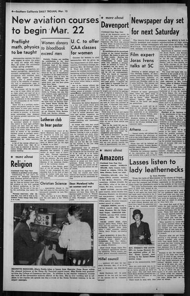 Daily Trojan, Vol. 34, No. 104, March 15, 1943