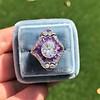 2.27ct (est) Art Deco Old European Cut Diamond with Amethyst Halo Ring 23