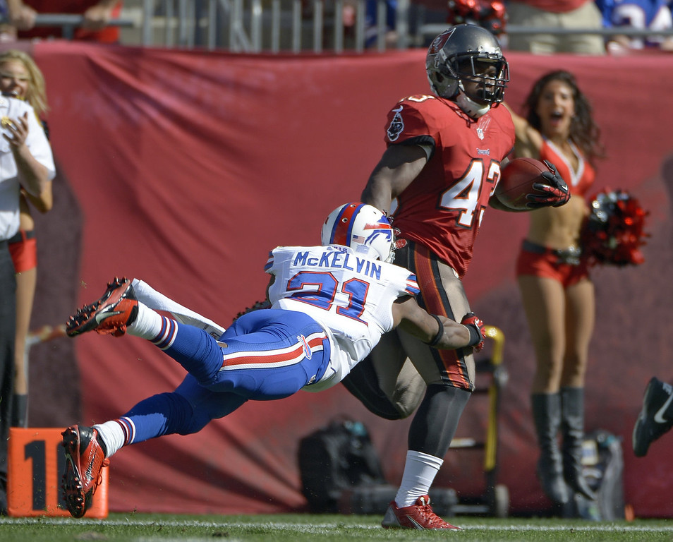 . Tampa Bay Buccaneers running back Bobby Rainey (43) eludes Buffalo Bills cornerback Leodis McKelvin (21) on an 80-yard touchdown run during the first quarter of an NFL football game on Sunday, Dec. 8, 2013, in Tampa, Fla. (AP Photo/Phelan M. Ebenhack)