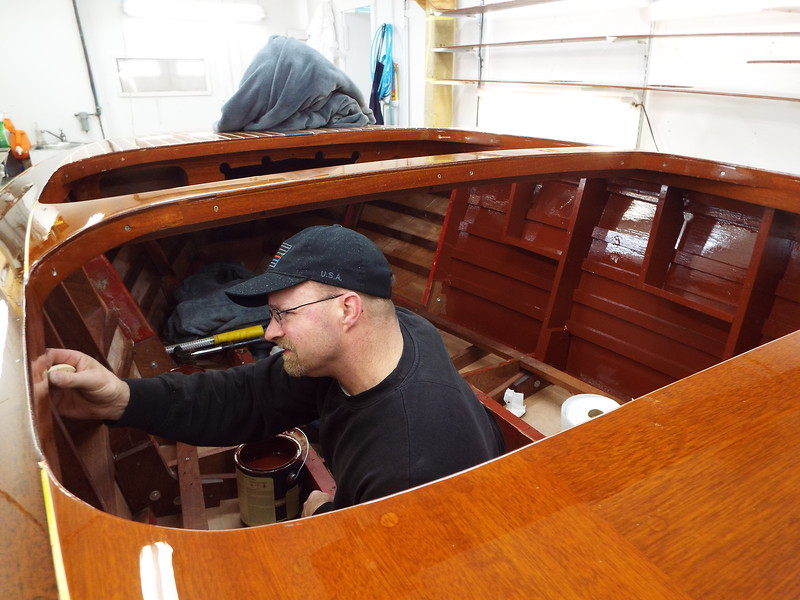Painting the inside of the hull.