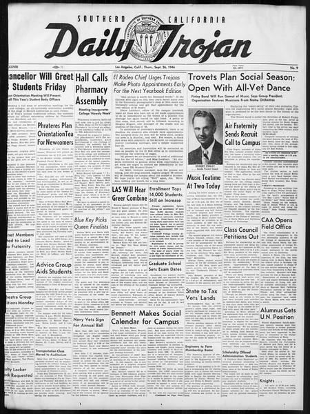 Daily Trojan, Vol. 38, No. 9, September 26, 1946