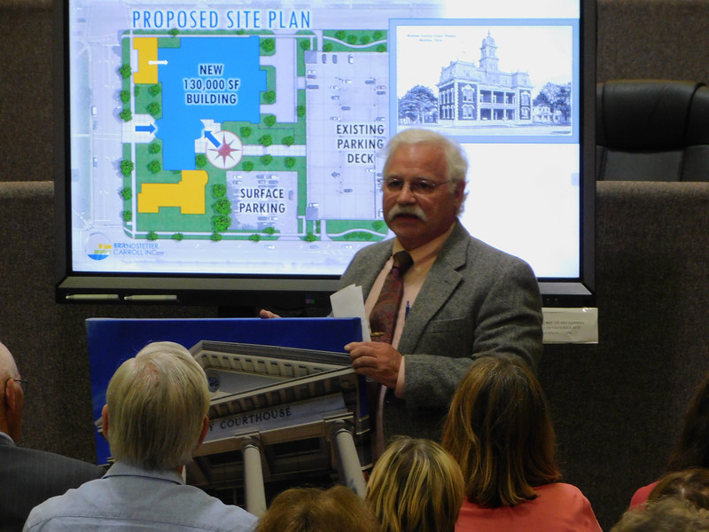 """BOB FINNAN / GAZETTE  Attorney Jeff Bramley shows a painting of the """"new"""" courthouse that was built in 1969 on Public Square. He said he can't figure out why anyone would think of demolishing the structure."""