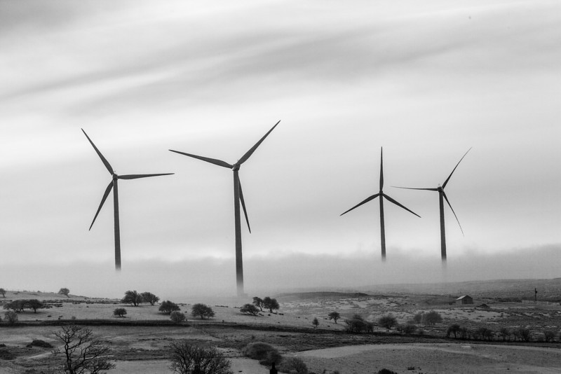 Wind farm in winter, just south of Accrington, Lancashire on Cobbs Lane.