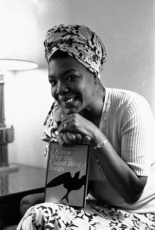 """. Maya Angelou, a 6 foot multi-talented ex-Arkansan, was hired as Hollywood\'s first black woman movie director, November 3, 1971.  She\'ll write the script and music, as well as direct \""""Caged Bird,\"""" which is based on her best-selling 1969 autobiography.  She\'s been a professional singer, dancer, writer, composer, poet, lecturer, editor, and San Francisco streetcar conductorette.(AP Photo/stf)"""