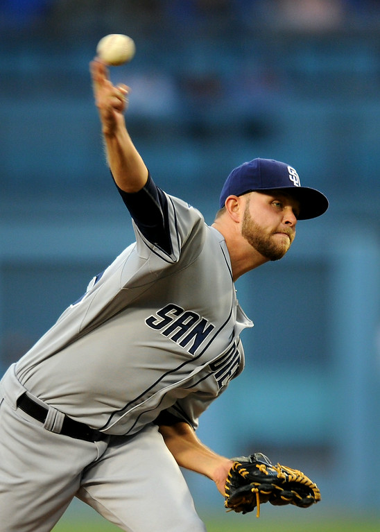 . Padres starting pitcher Jesse Hahn picked up his fifth win while limiting the Dodgers to three hits over six innings, Friday, July 11, 2014, at Dodger Stadium. (Photo by Michael Owen Baker/Los Angeles Daily News)