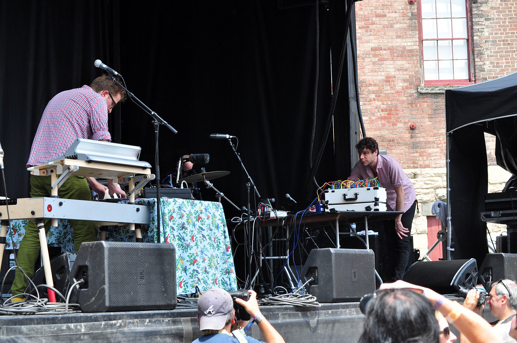 . Jack Guerino/ North Adams Transcript Wilco pianist, Mikael Jorgensen, plays electronic music alongside Oliver Chapoy and Greg O\'Keeffe during the final day of the Solid Sound Festival.