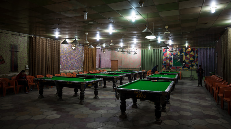 A pool hall in the town of Afak.