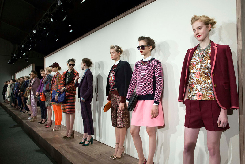 . Models present creations from the J. Crew Autumn/Winter 2013 collection during New York Fashion Week February 12, 2013. REUTERS/Andrew Kelly