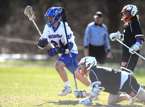 4/10/2019 Mike Orazzi | Staff St. Paul's Tucker Raymond (24) during boys lacrosse with Watertown in Bristol Wednesday.