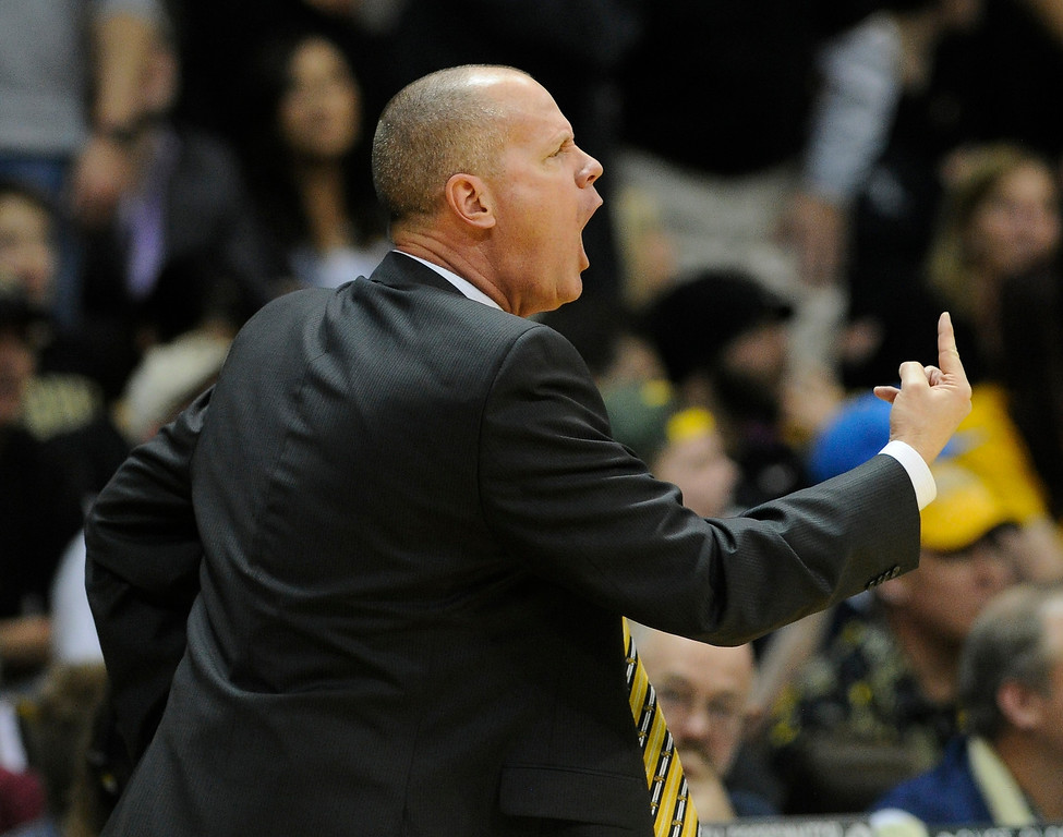 . BOULDER, CO. - FEBRUARY 14: Colorado coach Tad Boyle called for stronger defense in the second half. The University of Colorado men\'s basketball team defeated Arizona 71-58 Thursday night, February 14, 2013 at the Coors Event Center in Boulder. (Photo By Karl Gehring/The Denver Post)