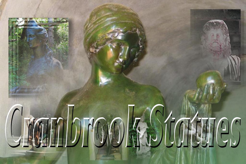 A collage of statues from the Cranbrook Institute, Bloomfield Hills, Michigan.  This features a transparent title and a blended collage of several digital photographs. Used Xara Xtreme for these effects.