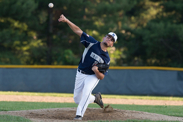 07/08/19 Wesley Bunnell | Staff Newington baseball defeated Bristol in an American Legion game in Newington on Monday July 8, 2019. Simao Cabral (20).