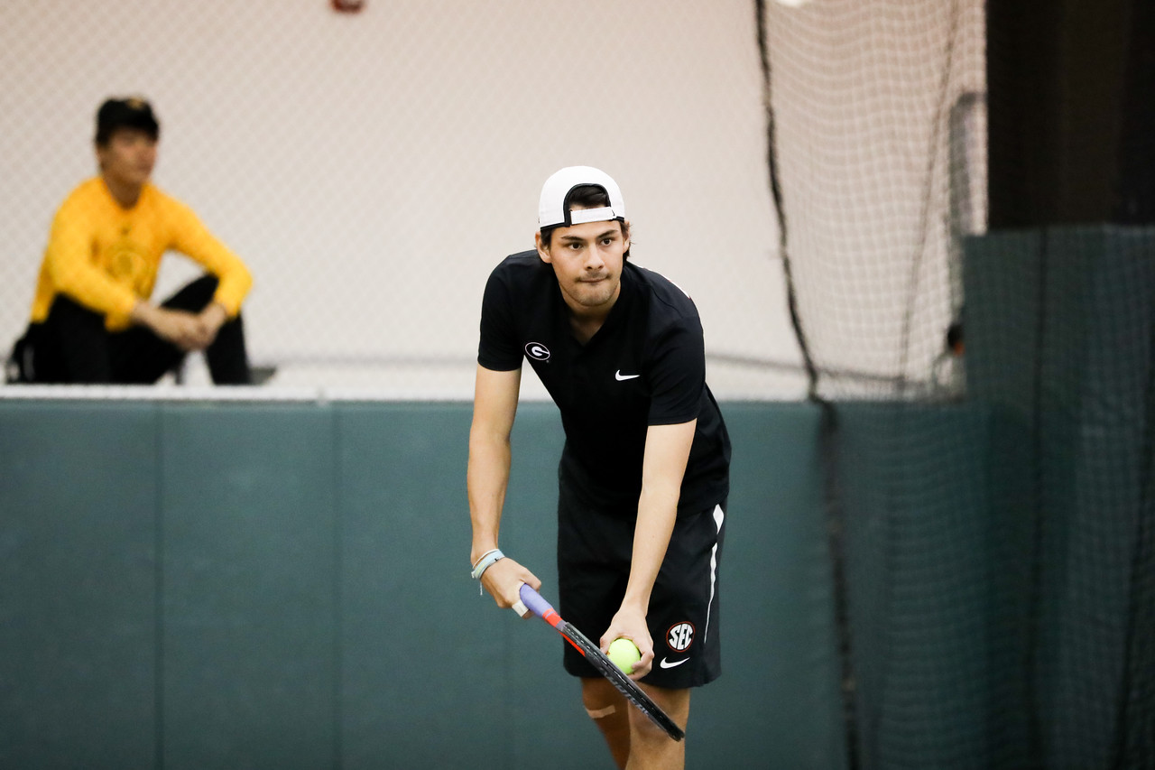 Georgia tennis player Blake Croyder during a match against Kennesaw State in the Lindsey Hopkins Indoor Center in Athens, Ga., on Mon., Jan. 20, 2020. (Photo by Tony Walsh)