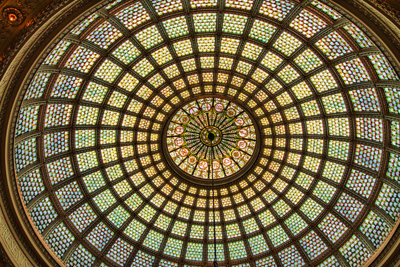 Dome at the Chicago Cultural Center.  Largest Tiffany glass dome in the world