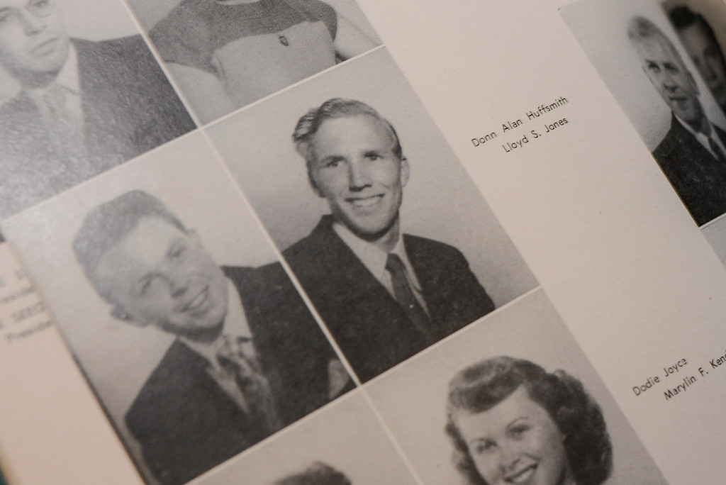 . LA Valley College\'s first student, Lloyd Jones, as he appeared in the  yearbook from 1949. Jones, a world renowned aviation artist was invited back to campus for a Deans reception.  Photo by David Crane/Los Angeles Daily News.