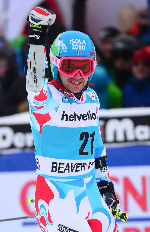 . France\'s Mathieu Faivre reacts crossing the finish line to place fourth in the men\'s giant slalom at the FIS Ski World Cup in Beaver Creek, Colorado, on December 8, 2013.    AFP PHOTO/Emmanuel DunandEMMANUEL DUNAND/AFP/Getty Images