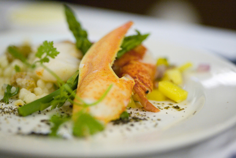 lobster claw with cous cous, asparagus,mango, etc.