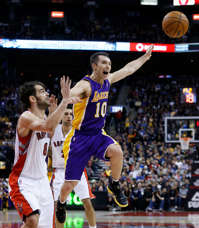 . Los Angeles Lakers\' Steve Nash (R) is guarded by Toronto Raptors\' Jose Calderon during the second half of their NBA basketball game in Toronto, January 20, 2013.     REUTERS/Mark Blinch