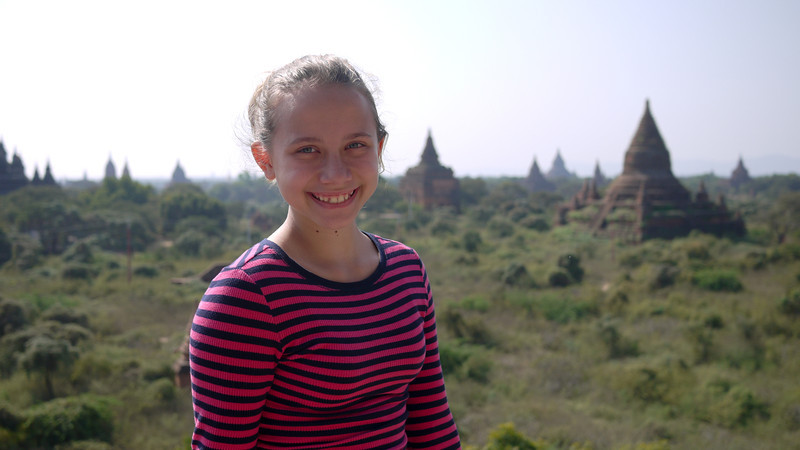 Ana at the temples in Bagan, Burma (Myanmar)
