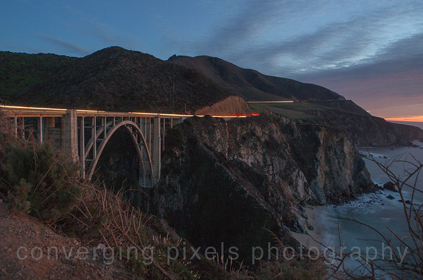 Bixby Bridge at dusk; on the way to Big Sur.