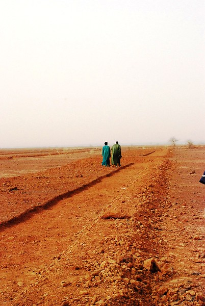 Villagers dig these irrigation channels, to capture the little rain water there is