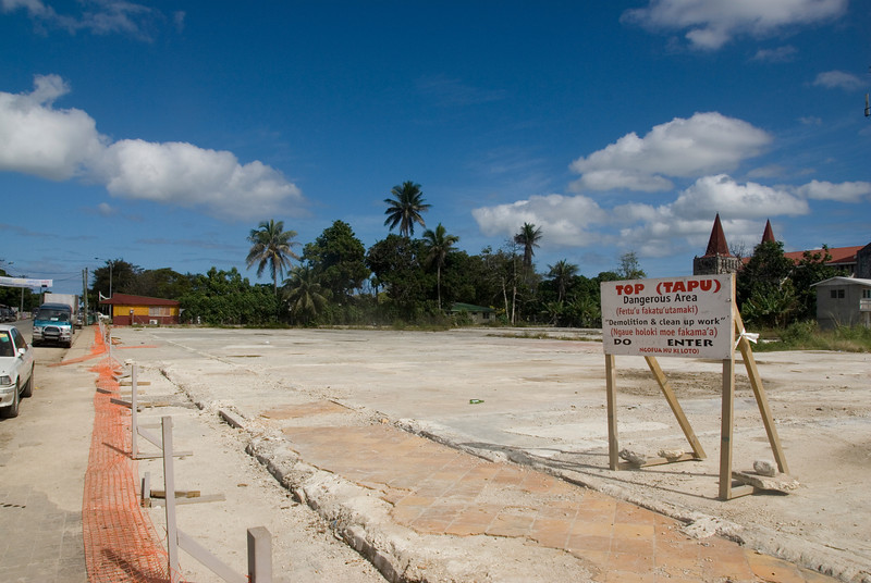 Razed area downtown Nuku'alofa, tonga