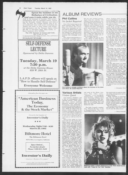 Daily Trojan, Vol. 98, No. 46, March 19, 1985