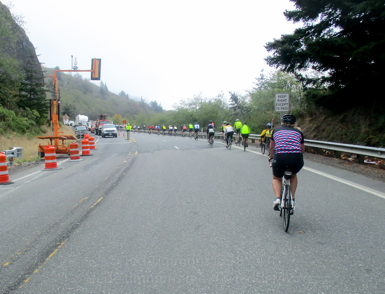 End of the flagged single-lane section of Hwy101. It's on a climb, which was great because we were guaranteed no fast cars approaching from behind!
