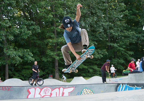 06/21/19 Wesley Bunnell | Staff New Britain held a grand opening for its Stanley Quarter Park Skate Park on Friday June 21, 2019. Sam Goncalves, age 13, performs a skateboard trick.