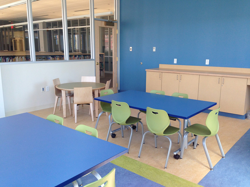 Colorful activity space within the Children's Room