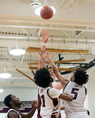 01/15/20 Wesley Bunnell | StaffrrInnovation boys basketball was defeated by Bristol Central at home Wednesday January 15, 2019. against Innovation's Quron Martin (1) and LJ Hazelwood (5).