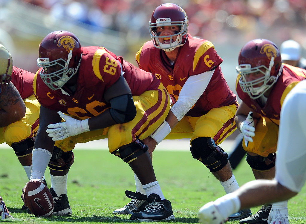 . Southern California\'s Cody Kessler (6) during the second half of an NCAA college football game against Boston College in the Los Angeles Memorial Coliseum in Los Angeles, on Saturday, Sept. 14, 2013. Southern California won 35-7. 