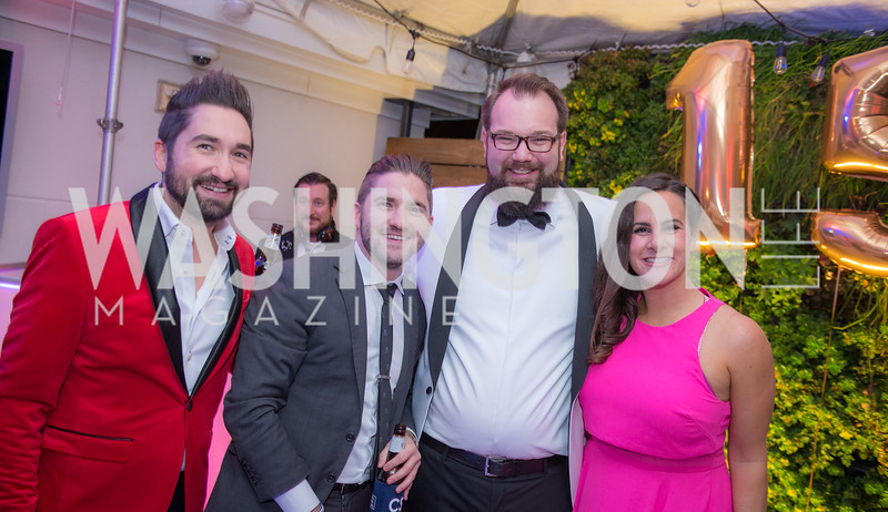 Jason Zuccari, Jarred Zuccari, Adam Perry, Emily D'Alessandris, Capitol Seniors Housing, 15th Anniversary Party.  November 8, 2018. Photo by Ben Droz.