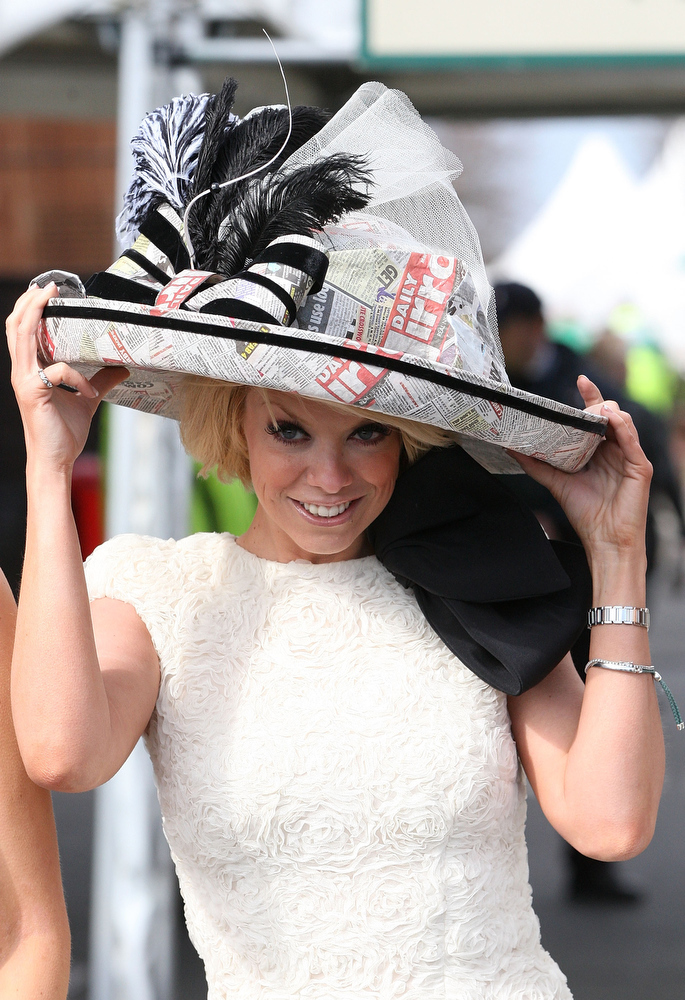 . Liz McClarnon attends Ladies Day at Aintree on April 5, 2013 in Liverpool, England. Friday is traditionally Ladies day at the three-day meeting of the world famous Grand National, where fashion and dressing to impress is as important as the racing. (Photo by Danny E. Martindale/Getty Images)