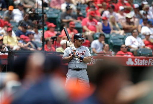 . Detroit Tigers\' Miguel Cabrera gets ready for hit at-bat during the third inning of a baseball game against the Los Angeles Angels on Sunday, July 27, 2014, in Anaheim, Calif. (AP Photo/Jae C. Hong)
