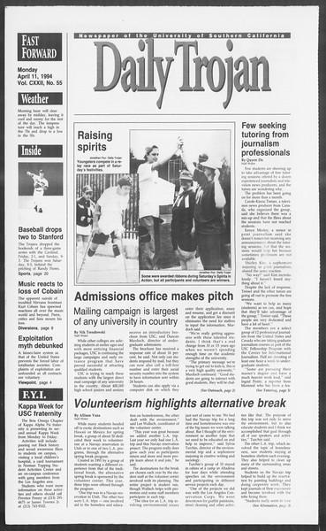 Daily Trojan, Vol. 122, No. 55, April 11, 1994
