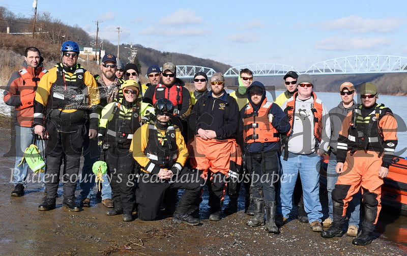 Harold Aughton/Butler Eagle: First responders from Parker City, Emlenton, and Kiski were on hand for the Parker Bear Polar Club's annual polar plunge into the Allegheny River in Parker, Wednesday, January 1, 2020.