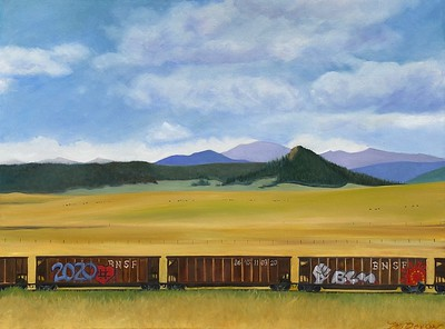 """""""Train of Thought"""" (oil on canvas) by Mitra Devon"""