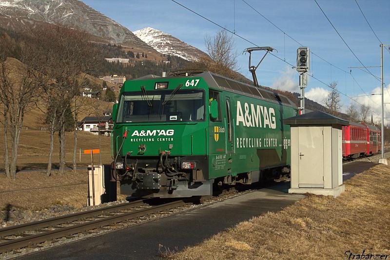 This work is licensed under a Creative Commons Attribution- NonCommercial 4.0 International License.  Islen, Graubunden, Switzerland    12/27/2016  Rhaetischebahn Ge 4/4 III    No 647