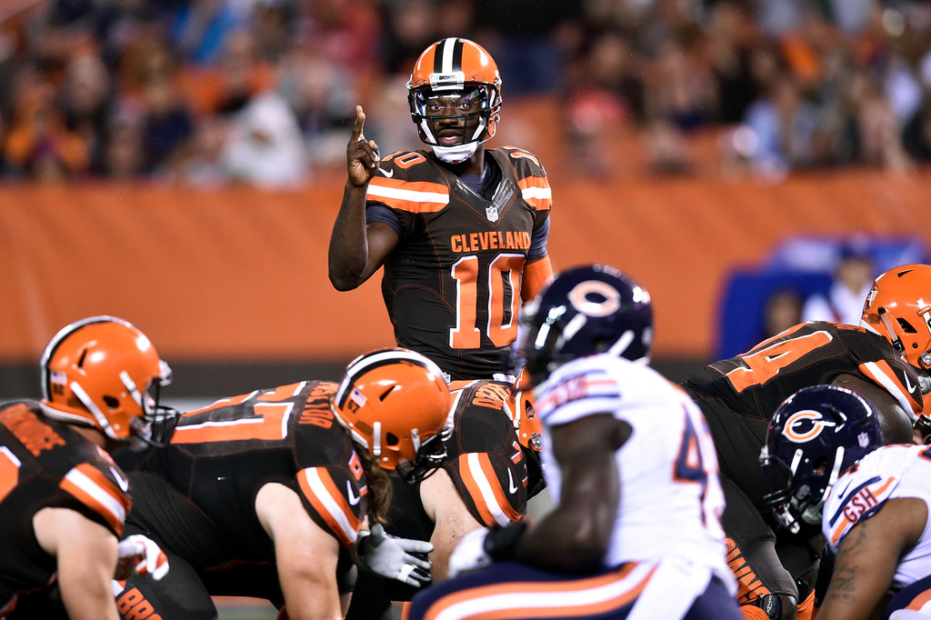 . Associated Press file Cleveland Browns quarterback Robert Griffin III (10) calls a play during the first half of an NFL preseason football game against the Chicago Bears, Thursday, Sept. 1, 2016, in Cleveland.