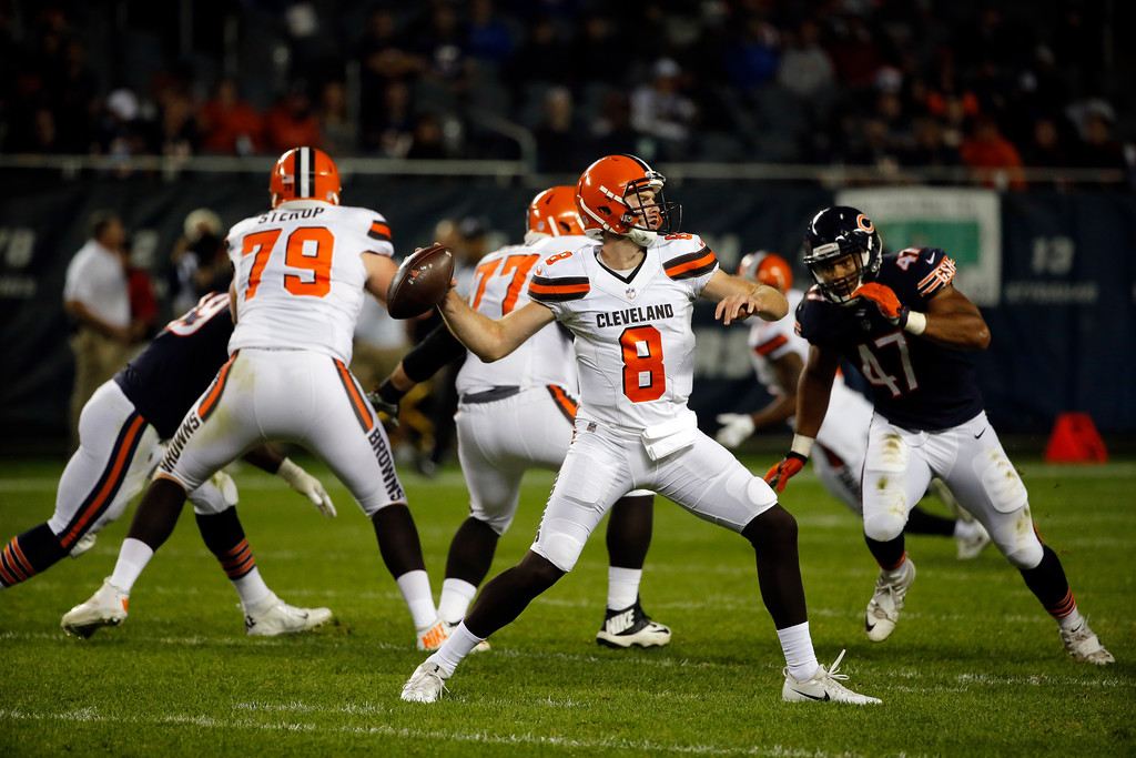 . Cleveland Browns quarterback Kevin Hogan (8) throws during the second half of an NFL preseason football game against the Chicago Bears, Thursday, Aug. 31, 2017, in Chicago. (AP Photo/Charles Rex Arbogast)