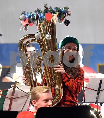 12/16/2017 Mike Orazzi | Staff Maggie Lesnik during the 3rd Annual Tuba Christmas at Trinity-On-Main in downtown New Britain Saturday.