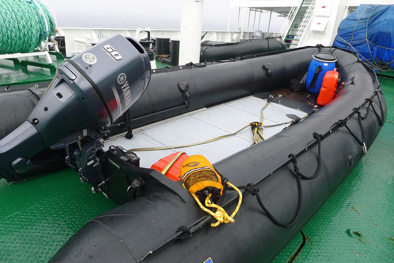 Antarctica - The ship, Sergey Vavilov for the Circle Trip, Jan 2013:  our Zodiacs and equipment looked all new...