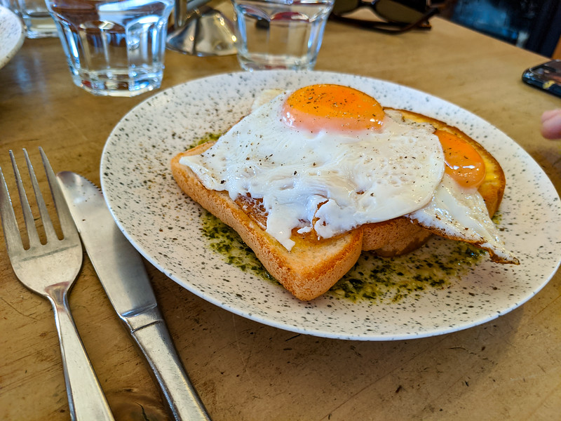 Gluten-free toast and eggs at Caffe Windsor, Inglewood