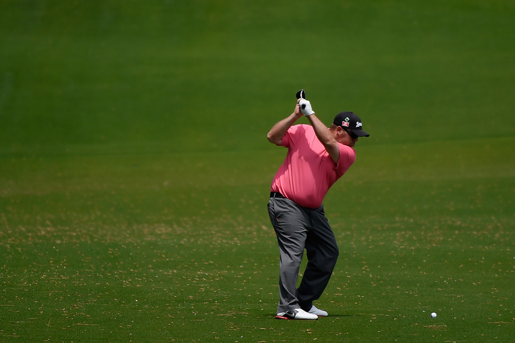 . Kevin Stadler of the United States hits a shot from the eighth fairway during the second round of the 2014 Masters Tournament at Augusta National Golf Club on April 11, 2014 in Augusta, Georgia.  (Photo by Harry How/Getty Images)