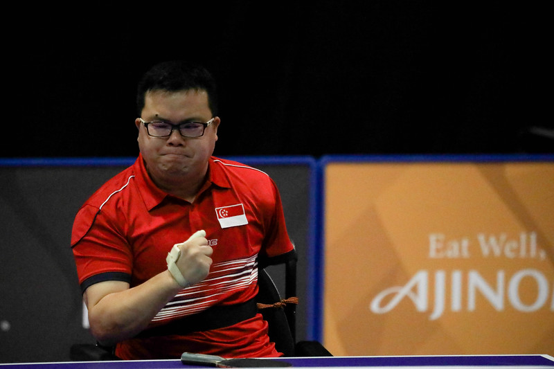 PARA TABLE TENNIS - Singapore's JASON CHEE in action during Men Team - Round Robin Match against Team Indonesia at MITEC Hall 7 on September 17th, 2017 (Photo by Sanketa Anand)
