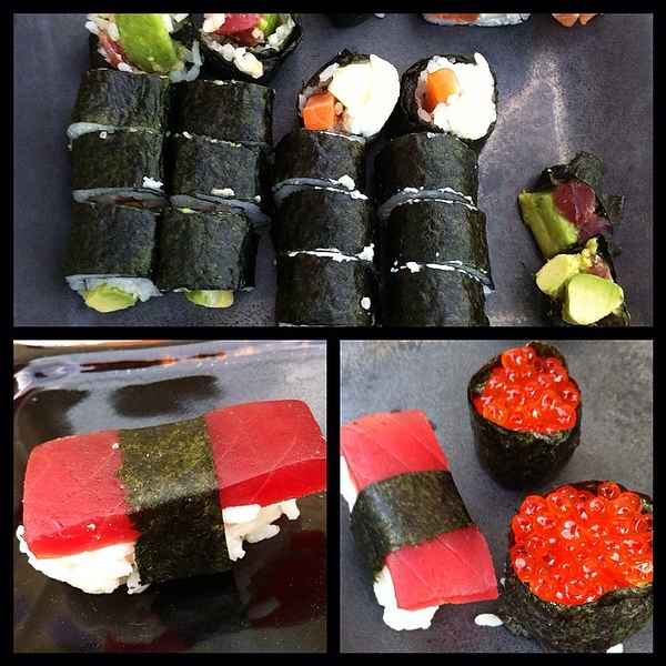 On the table tonite: Kayla-made SUSHI! #food #foodie #jux