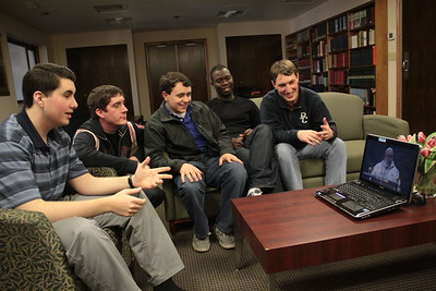 Seminarians watch new Pope