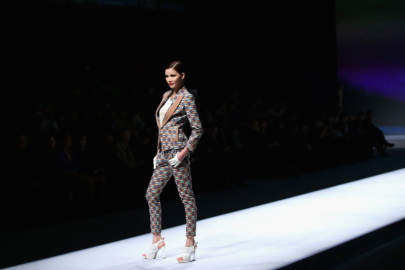 . A model showcases designs on the catwalk during VISCAP Yuan Bing Collection on the third day of Mercedes-Benz China Fashion Week Autumn/Winter 2013/2014  at Banquet Hall of Beijing Hotel on March 26, 2013 in Beijing, China.  (Photo by Feng Li/Getty Images)